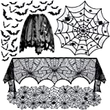 5pack Halloween Decorations Tablecloth Runner Black Lace Round Spider Cobweb Table Cover Fireplace Mantel Scarf…
