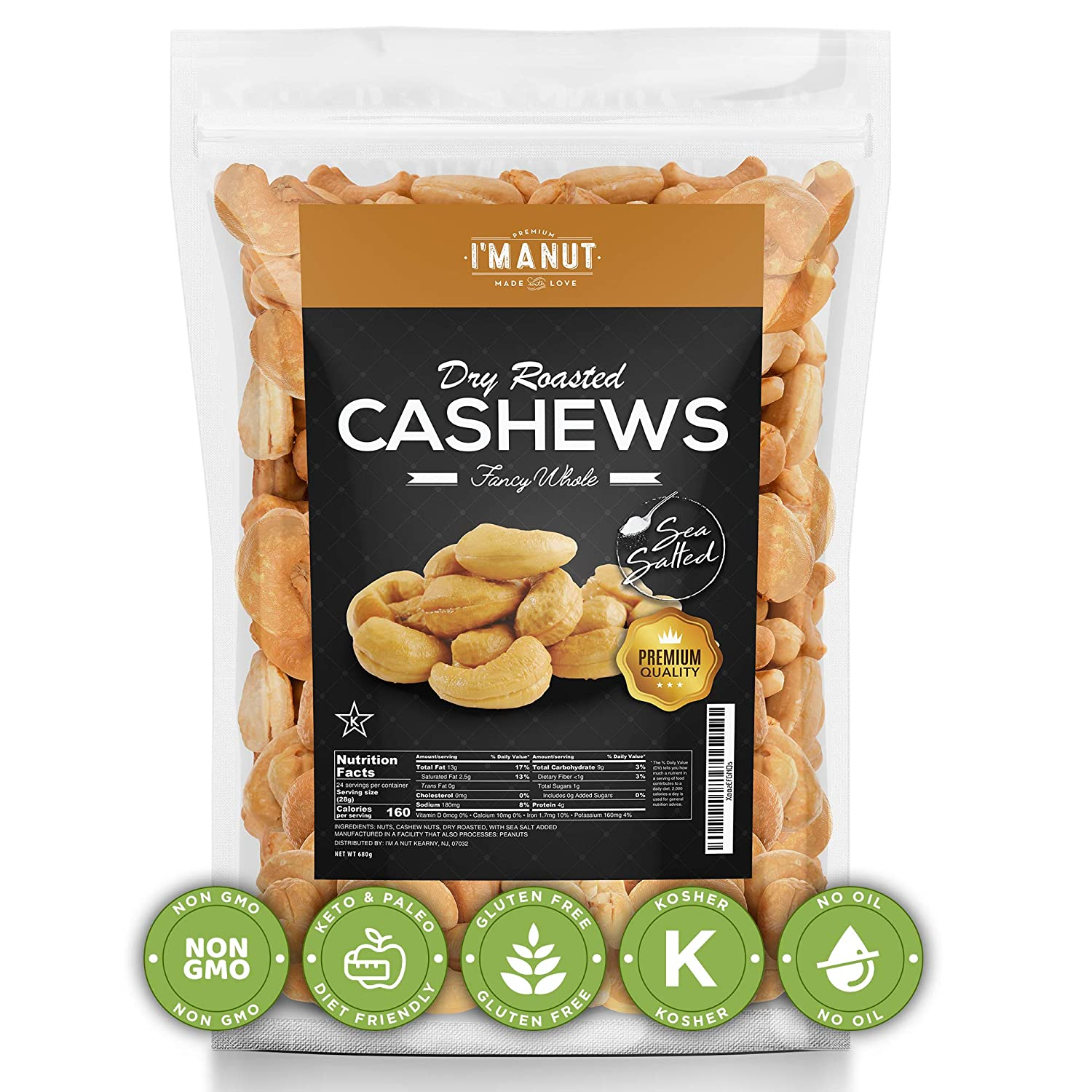 Oven Dry Roasted Cashews with Sea salt, 1.5Lbs, Fancy Whole. No Oil | No PPO | Vegan and Keto Friendly | Made from Natural cashews,