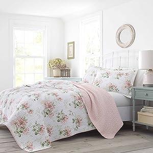 Laura Ashley Honeysuckle Quilt Set, King, Pastel Pink