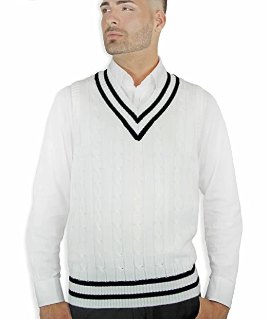 1960s Men's Sweaters Cable Sweater Vest $34.00 AT vintagedancer.com