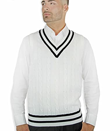 1930s Men's Costumes: Gangster, Clyde Barrow, Mummy, Dracula, Frankenstein Blue Ocean Cable Sweater Vest $34.00 AT vintagedancer.com