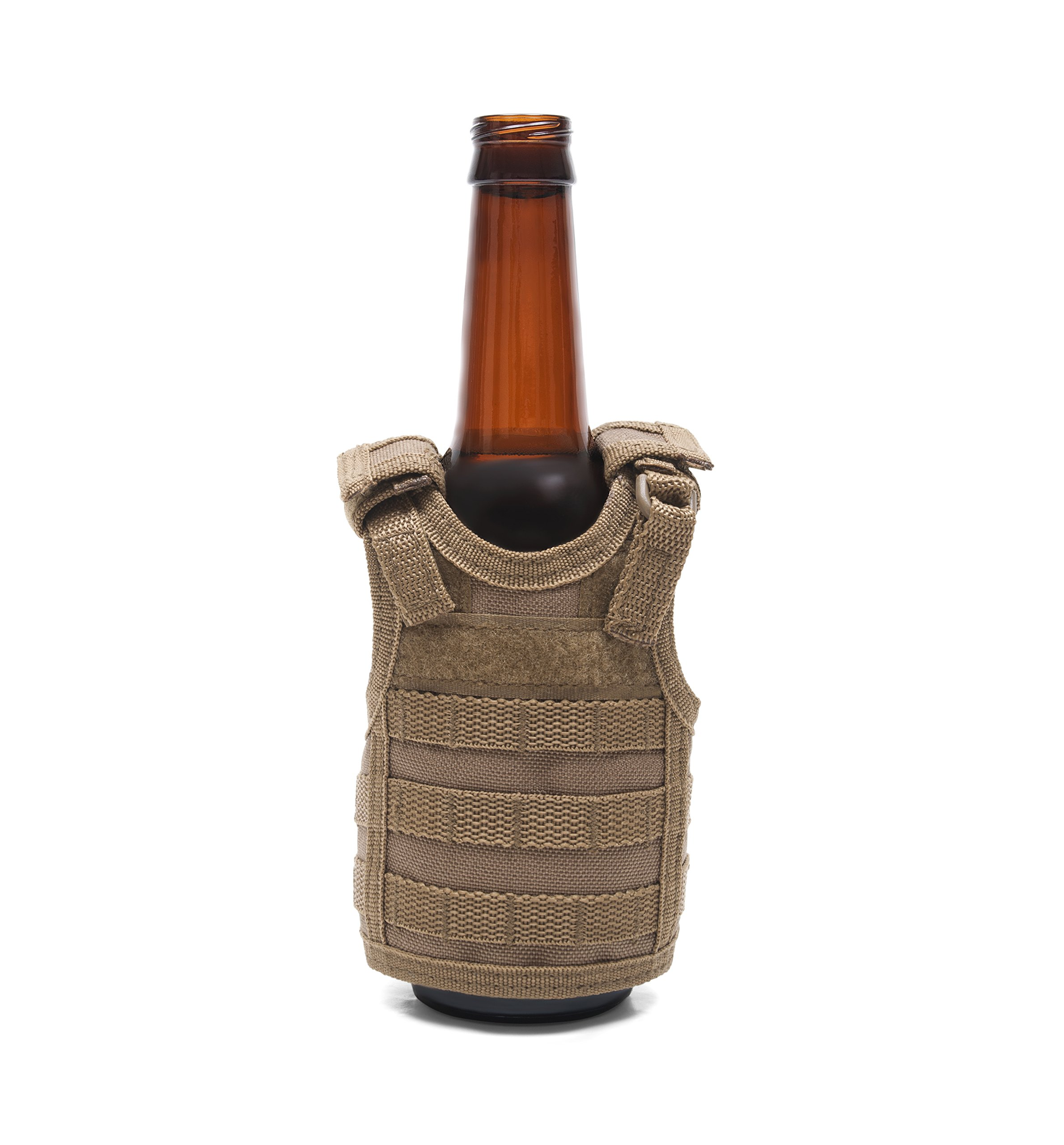 Frontier Tactical Gear Tactical Premium Beer Military Molle Mini Miniature Vests Beverage Cooler for 12oz or 16oz beverages cans AND bottles - adjustable shoulder straps - Coyote Brown by Frontier Tactical Gear