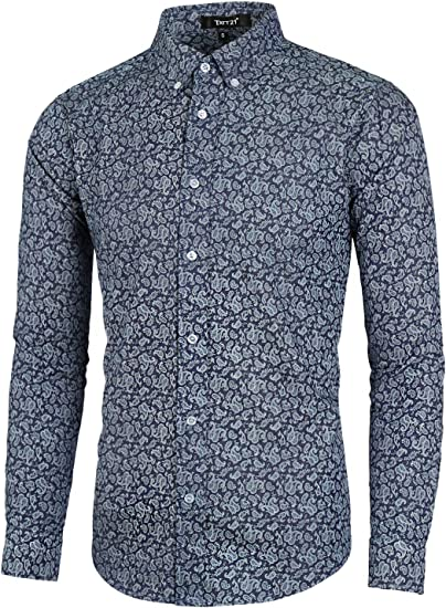 Slim Fit Men/'s Paisley Printed Linen Casual Shirts Short and Long Sleeve Shirt