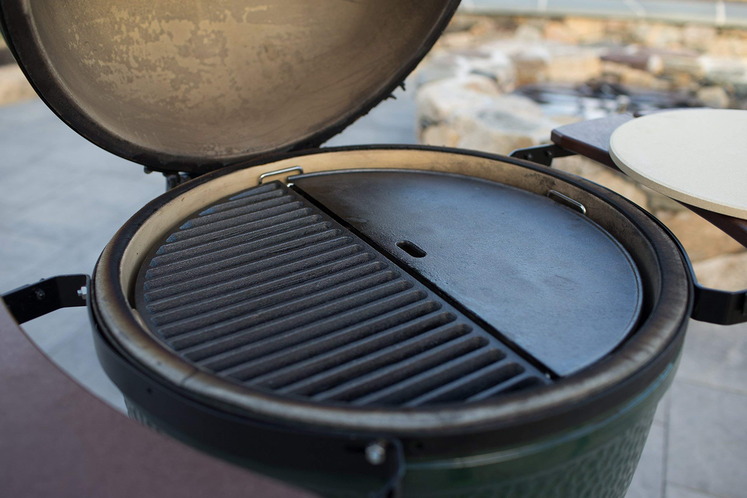 Half Moon Cast Iron Reversible Griddle for Large Big Green Egg and 18in Kamado Grills by Aura Outdoor Products