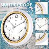 BEW Indoor/Outdoor Wall Clock, 18-Inch Silent Clock with Thermometer & Hygrometer Combo, Battery Operated Waterproof Metal Clock for Living Room, Garden, Patio, Pool, Lanai, Fence
