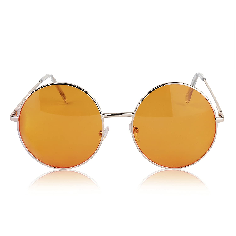 9df24c9e8 Amazon.com: Oversized Hipster Sunglasses Teens Fashion Color Colorful Tint  Steampunk Orange: Clothing