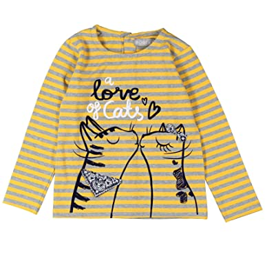 6f794461efd930 Boboli Mädchen Langarmshirt Stretch Knit T-Shirt for Girl Gelb (Stripes  9306) 92