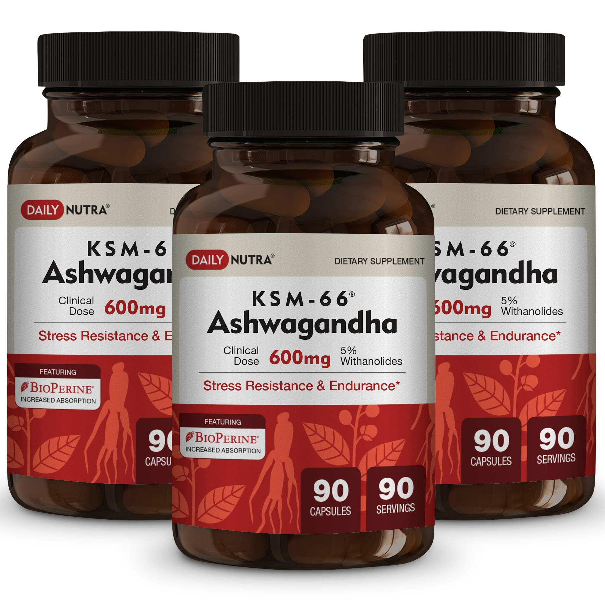 KSM-66 Ashwagandha 600mg Organic Full-Spectrum Root Extract with 5% Withanolides. Health Benefits Include Reduced Stress and Anxiety, Increased Energy and Focus. (3-Pack)
