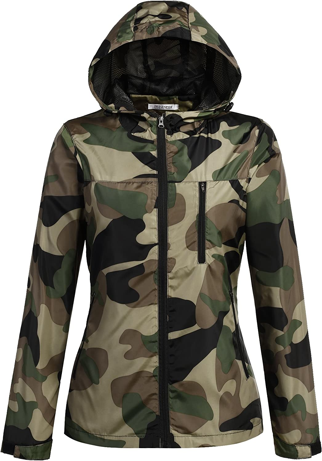 Meaneor Womens Lightweight Military Camouflage Hooded Venture Jacket and Outdoor Waterproof Raincoat