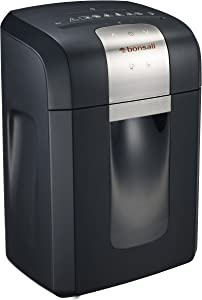 Bonsaii 60-Minute Heavy Duty 3S16 Paper Shredder,12-Sheet Cross-Cut Shredder for CDs/Credit Cards with Jam Proof System, Quiet and Removable Shredding Machine for Office Use, Black