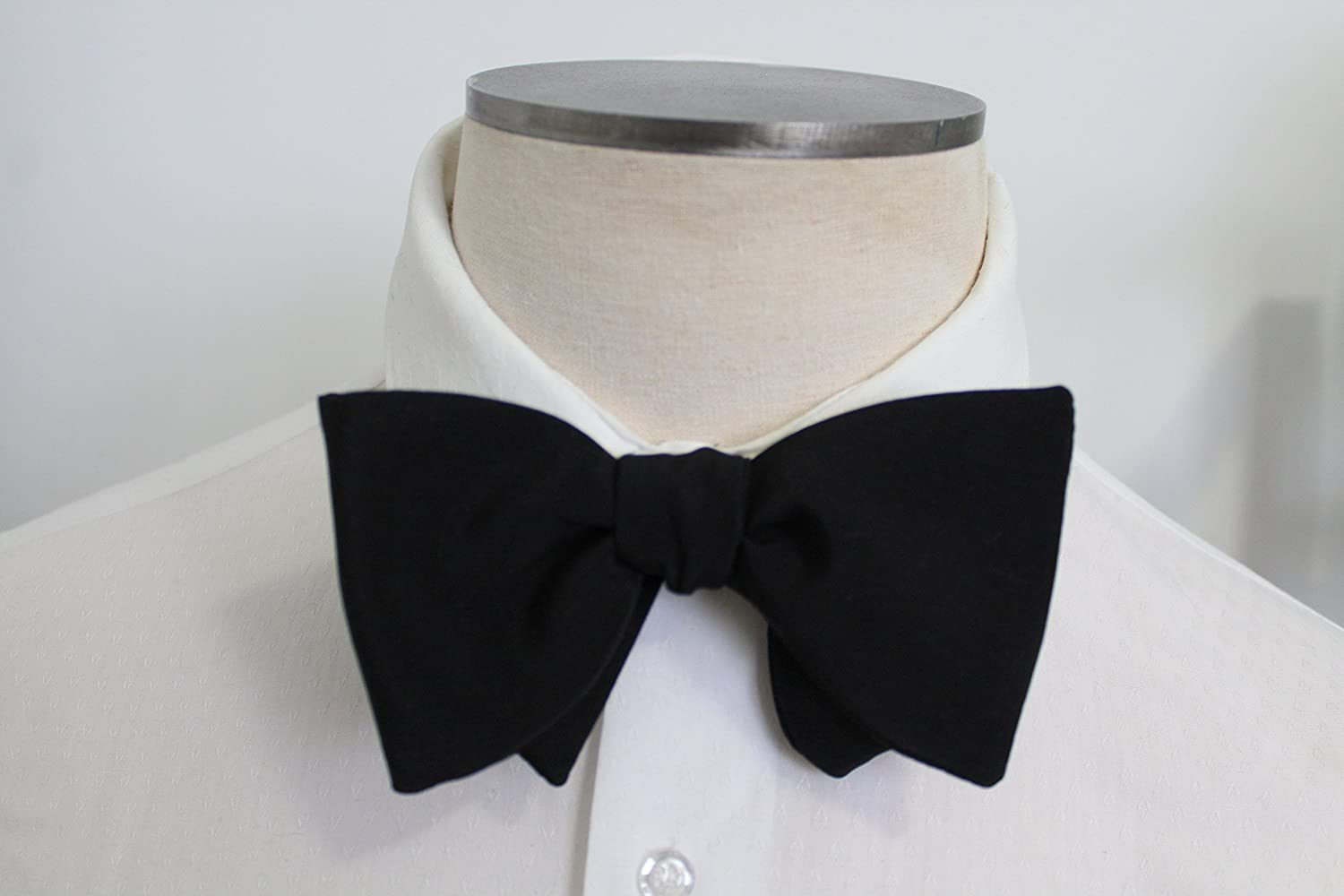 Oversized Matte Black Silk Self Tying Bowtie