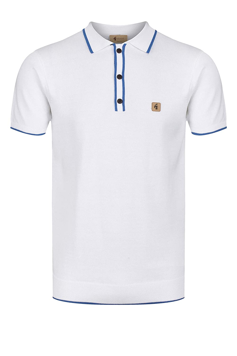 Gabicci Lineker Short Sleeve Tipped Edge Polo Shirt | White ...