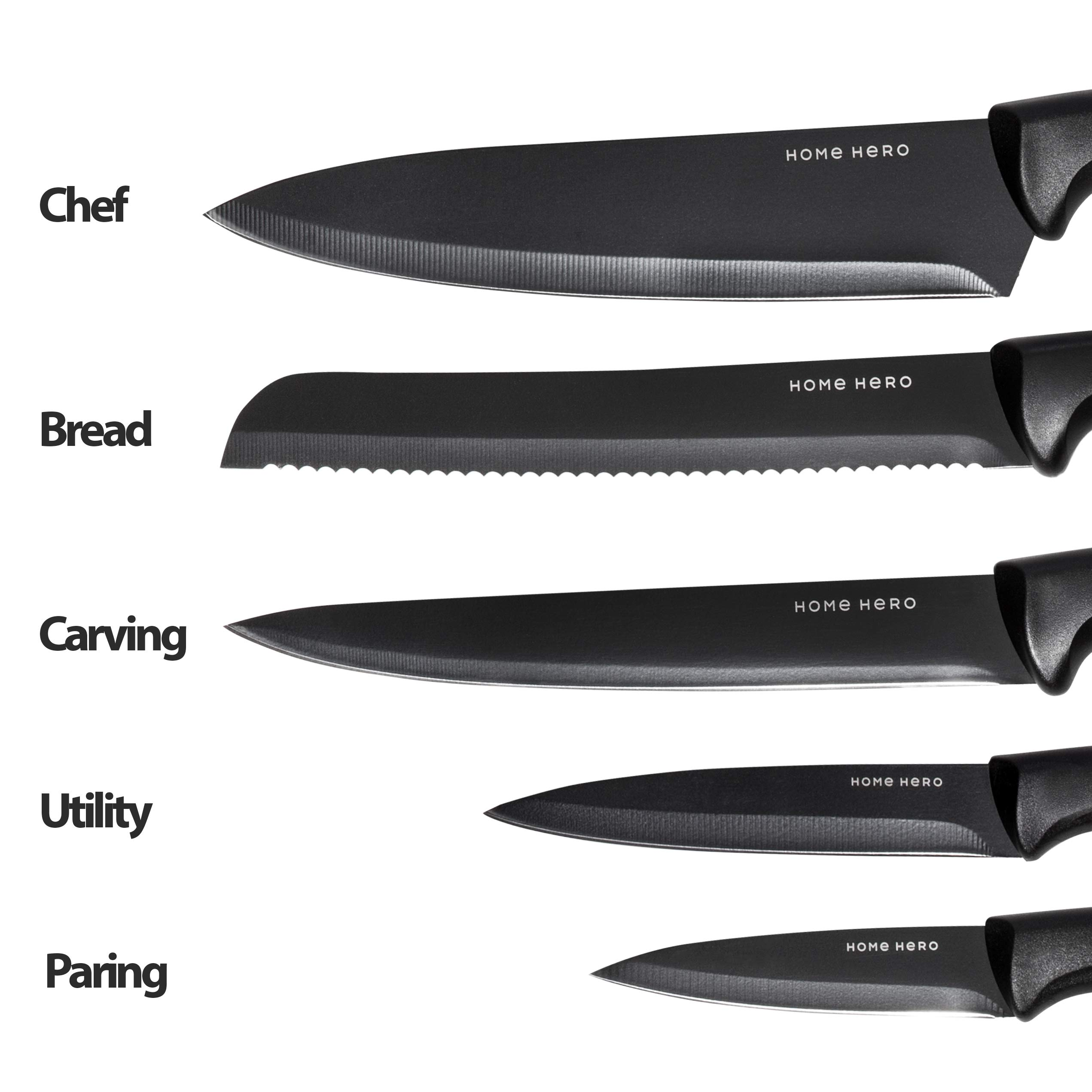Chef Knife Set Knives Kitchen Set - Kitchen Knives Set Kitchen Knife Set with Stand - Plus Professional Knife Sharpener - 7 Piece Stainless Steel Cutlery Knives Set by HomeHero by HomeHero (Image #3)