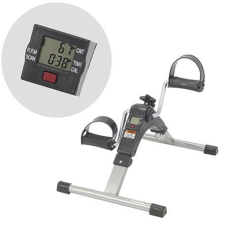AdirMed Digital Foldable Mini Floor Foot Pedal Exerciser Leg Machine – Under Desk Exerciser – Fully Assembled No Tools Required