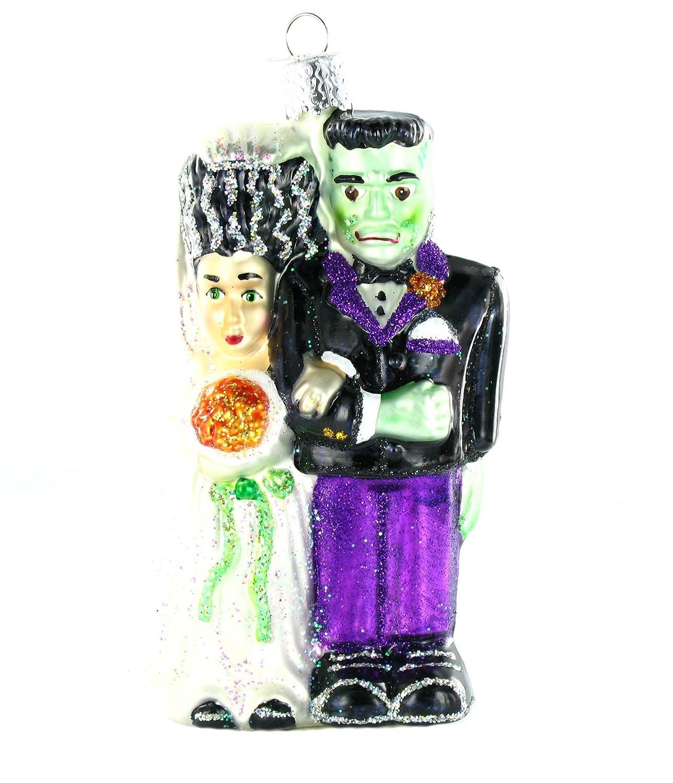 Amazon.com: Old World Christmas Frankenstein & Bride Glass Blown ...