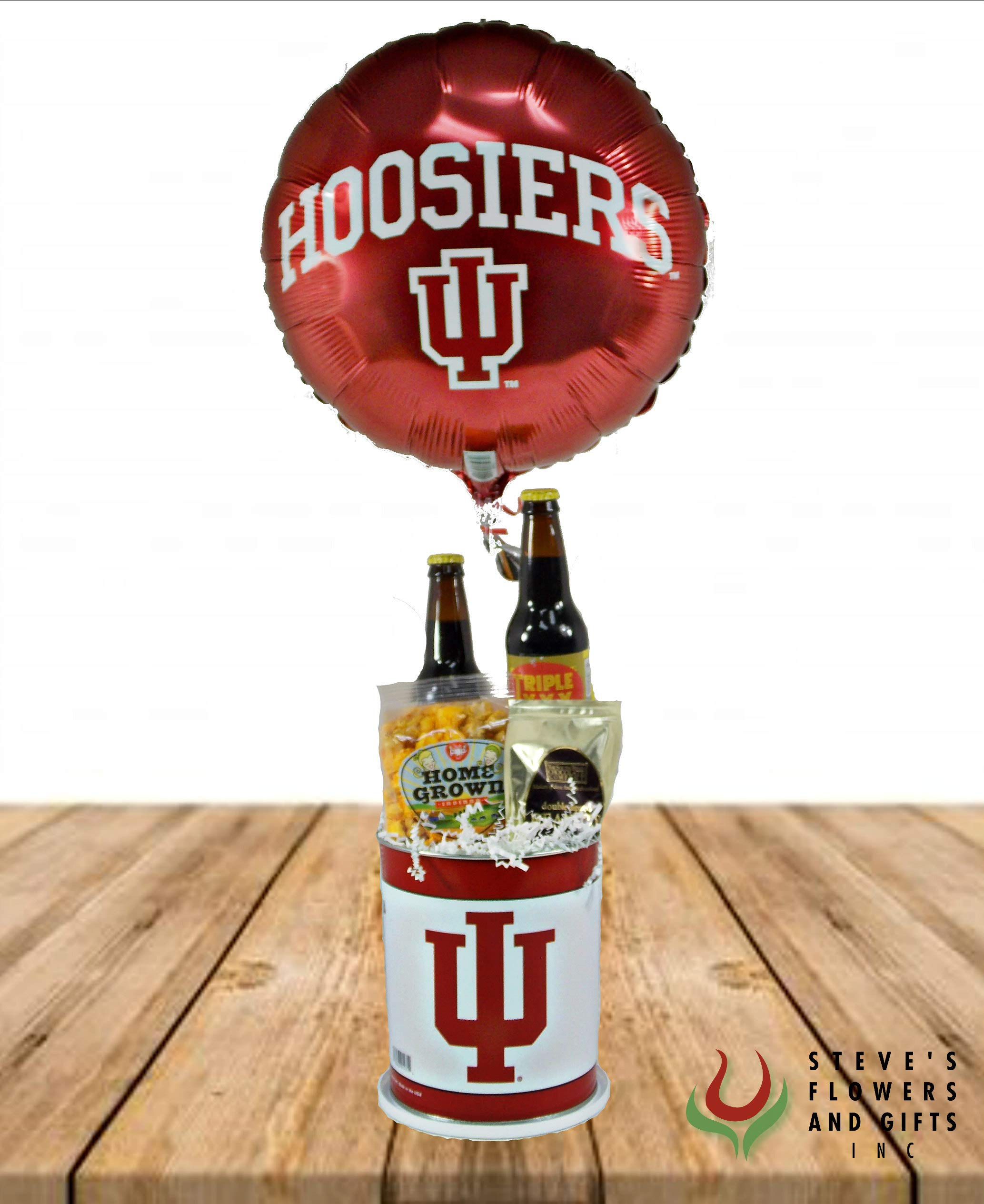 Indiana Hoosiers Gourmet Bucket by Steve's Flowers and Gifts - Fresh Flowers Hand Delivered - Indianapolis Area