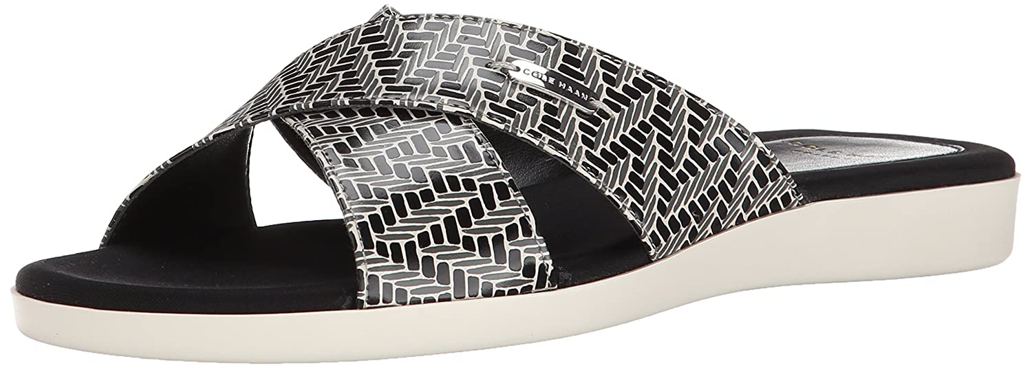 Womens Sandals Cole Haan Augusta Sandal Black/White Chevron Print