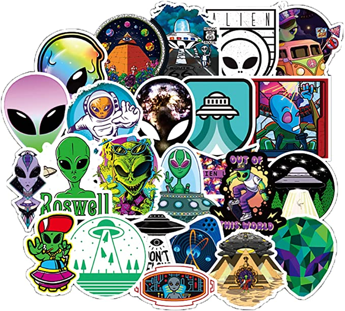 Alien UFO Lava Lamp Stickers