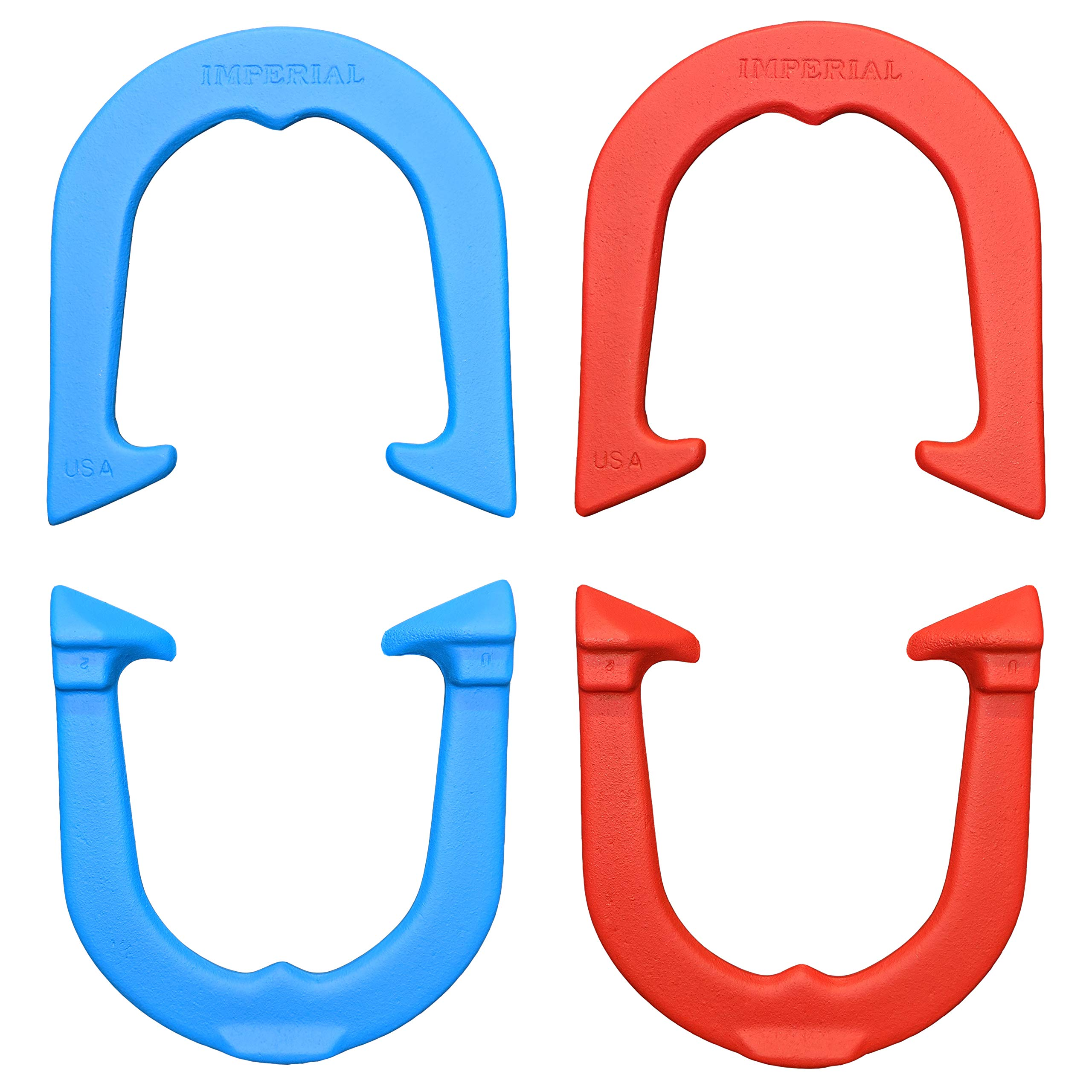 Imperial Professional Pitching Horseshoes Set- Made in USA! (Red & Blue (Two Pair Set (4 Shoes))