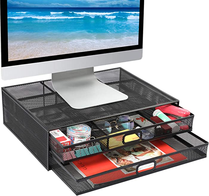 Monitor Stand Riser - Mesh Metal Desk Organizer PC, Laptop,Notebok, Printer Holder with Dual Pull Out Storage Drawer