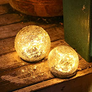 OHINGLT Solar Garden Lights Outdoor Cracked Glass Ball Waterproof Wireless Warm White LED Lamp for Garden Decor Yard Art Pathway Patio Walkway Lawn Ornaments 1 Globe (5.9