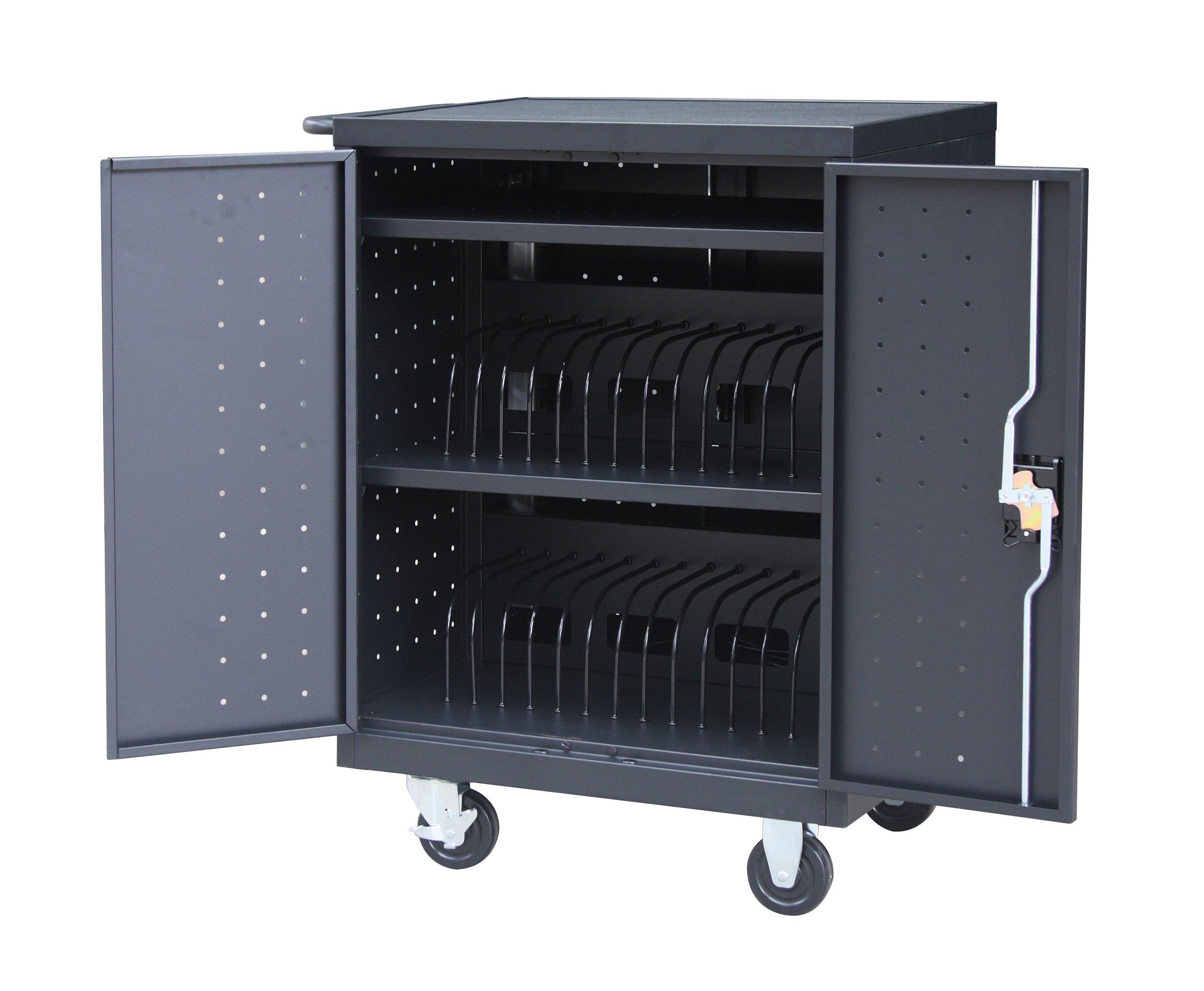 Pearington 30 Bay Tablet/Laptop Charging Cart, Black