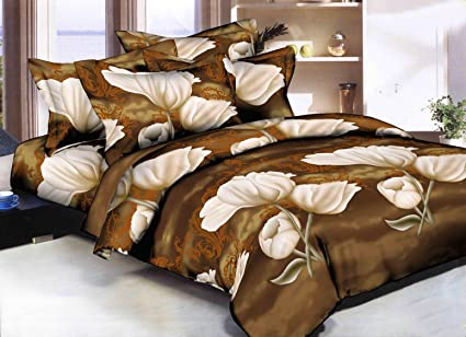 9ef1c463d1 Sky Tex Multi Color Poly Cotton 3D Printed Floral 140 TC Double Bed Sheet  with 2