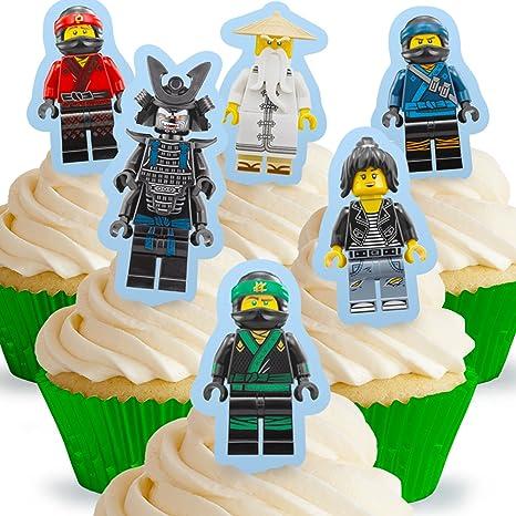 12 X Vorgeschnittene Und Essbare Aufrecht Stehende Lego Ninjago Kuchen Topper Tortenaufleger Bedruckte Oblaten Oblatenaufleger