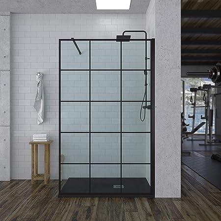 Mampara de ducha FIJA decorado INDUSTRIAL (a Cuadros Negros) - vidrio 8MM - Tratamiento ANTICAL INCLUIDO - Incluye BRAZO DE SEGURIDAD (70 Cms, Negro): Amazon.es: Bricolaje y herramientas