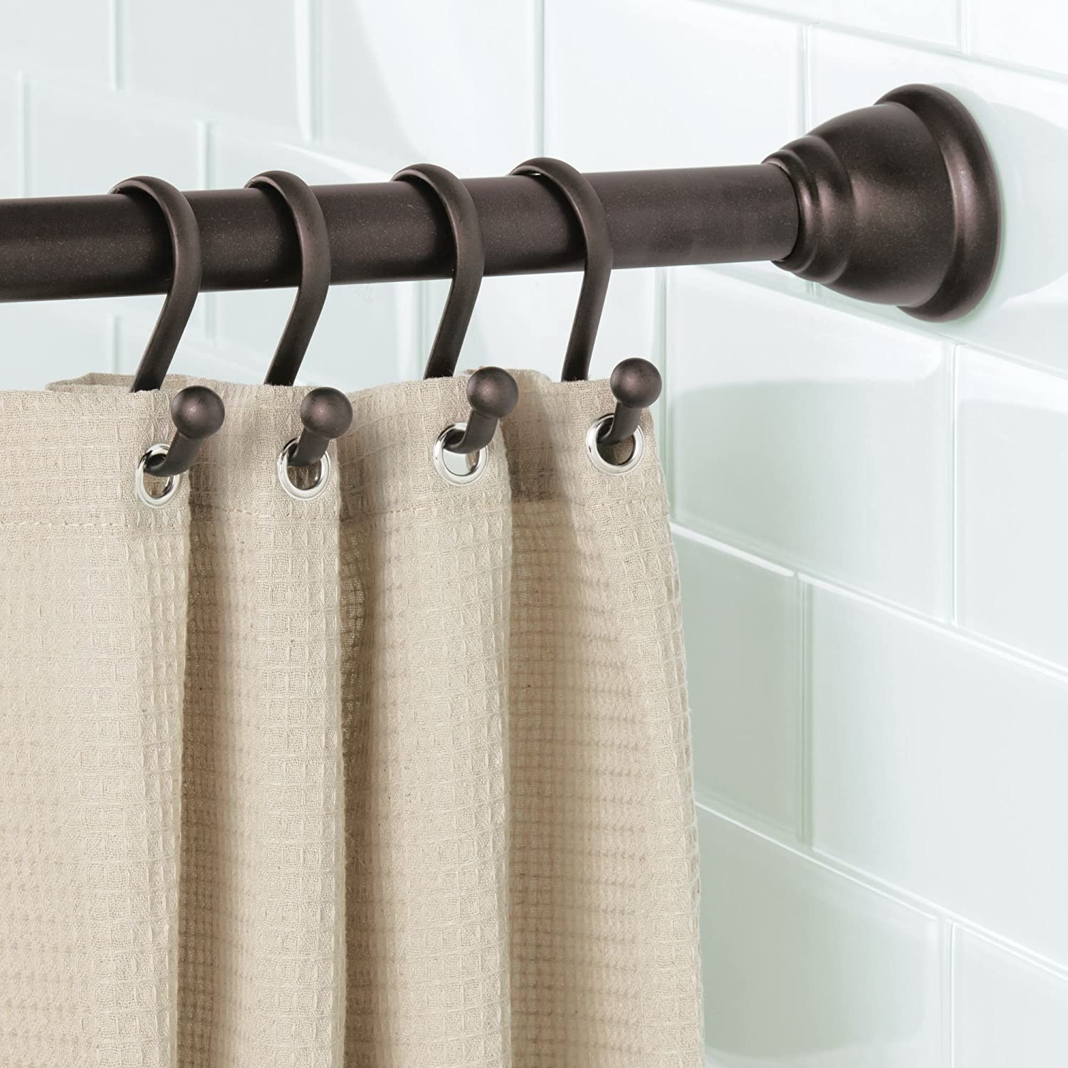 Bronze Pack of 12 iDesign Axis Steel Shower Curtain Hooks for Bathroom