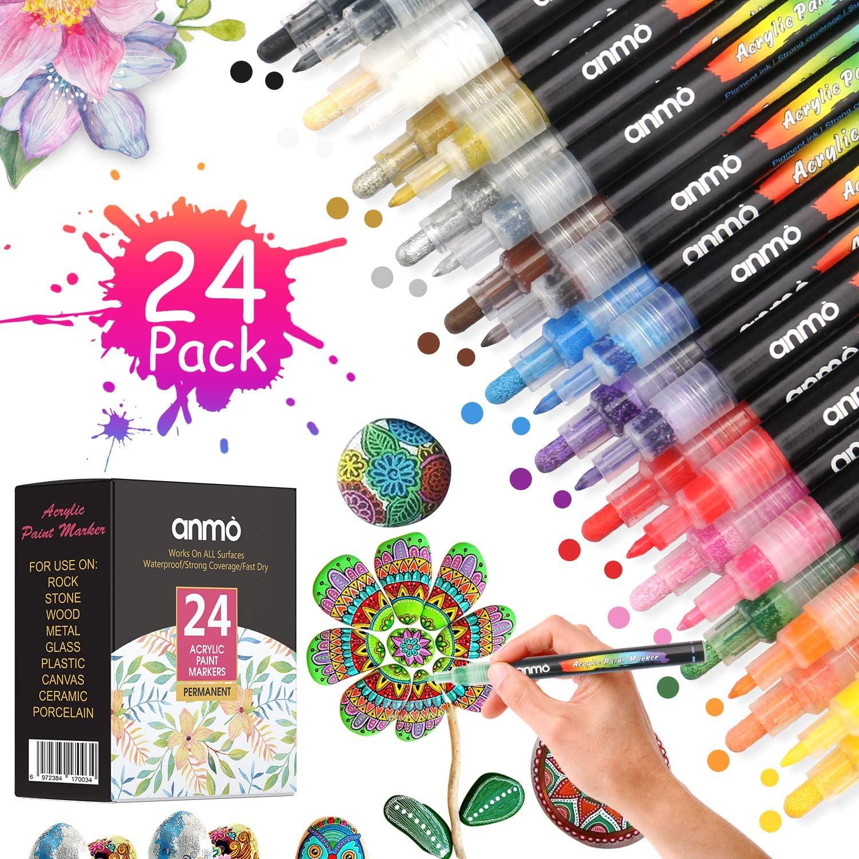 Rotuladores de Pintura Acrílica, 24PCS Rotuladores Permanentes de Colores Art Marker Pen Doble Punta, Acrilicos Pintura para Graffiti Roca, Tela, Metal, Vidrio, Madera, Scrapbooking (0.7mm/3mm/5mm)