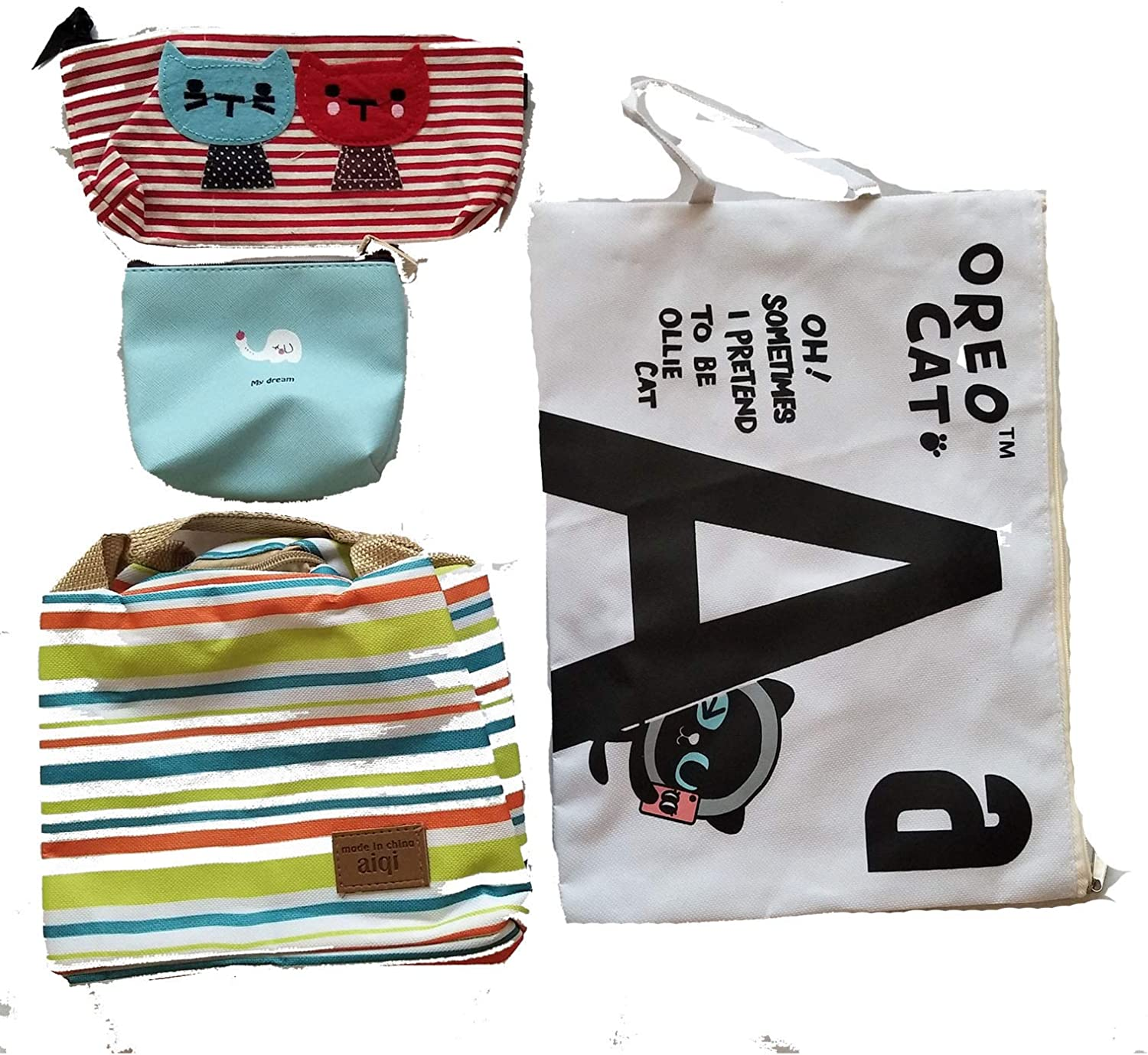 Pencil case Coin Bag Lunch Bag 4-in-1 School Supplies Storage Value Set Canvas Documents Bag