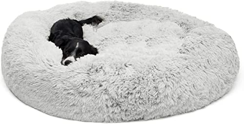 Clothink Donut Cat Dog Bed, Faux Fur Marshmellow Dog Cat Bed, Self Warming Cuddler Washable Round Pet Bed for Cats and Small Dogs