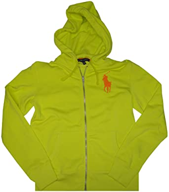 Polo Ralph Lauren Women S Big Pony Zip Up Hoodie Neonyellow Large At