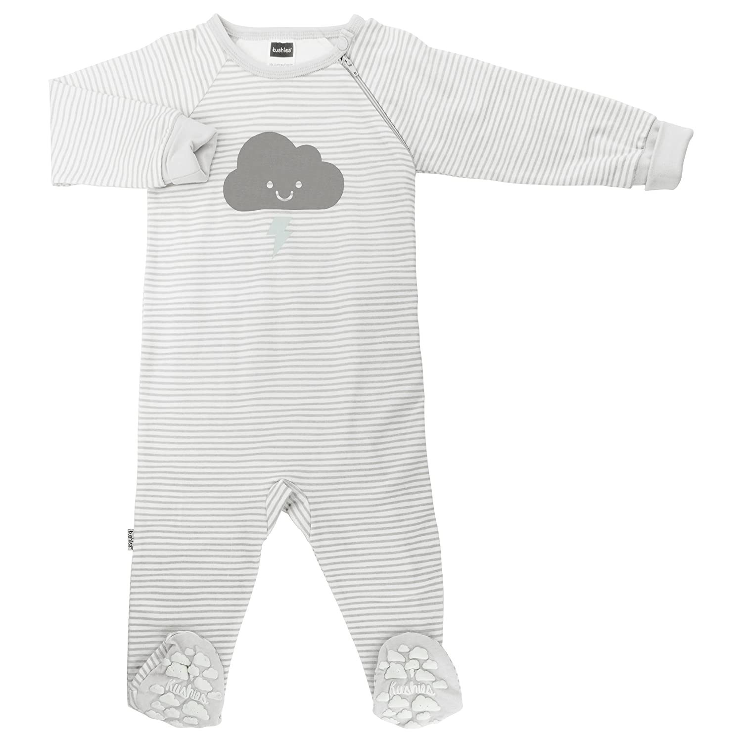Kushies Baby Infant Sleeper Side Zip, Light Grey Stripe, Preemie L16290048