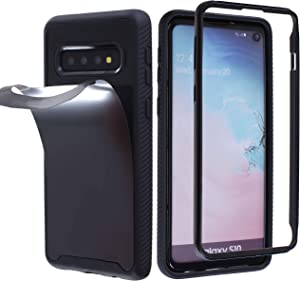 MONCABILE Stick on The Wall Phone Case That Sticks to Anything -[Drop Protection] Anti Gravity Sticky Phone Case for Galaxy S10 (Black - S10)
