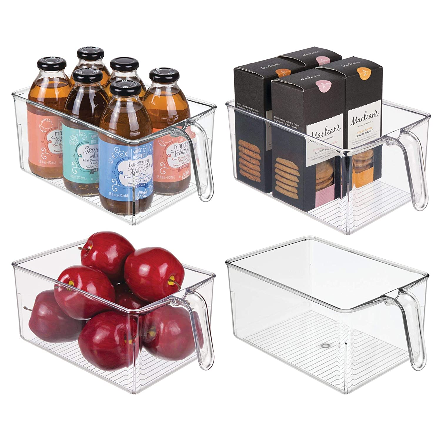 mDesign Plastic Kitchen Pantry Cabinet Refrigerator Food Storage Organizer Bin Holder with Handle - for Organizing Individual Packets, Snacks Food, Produce, Pasta - 4 Pack, Large, Clear