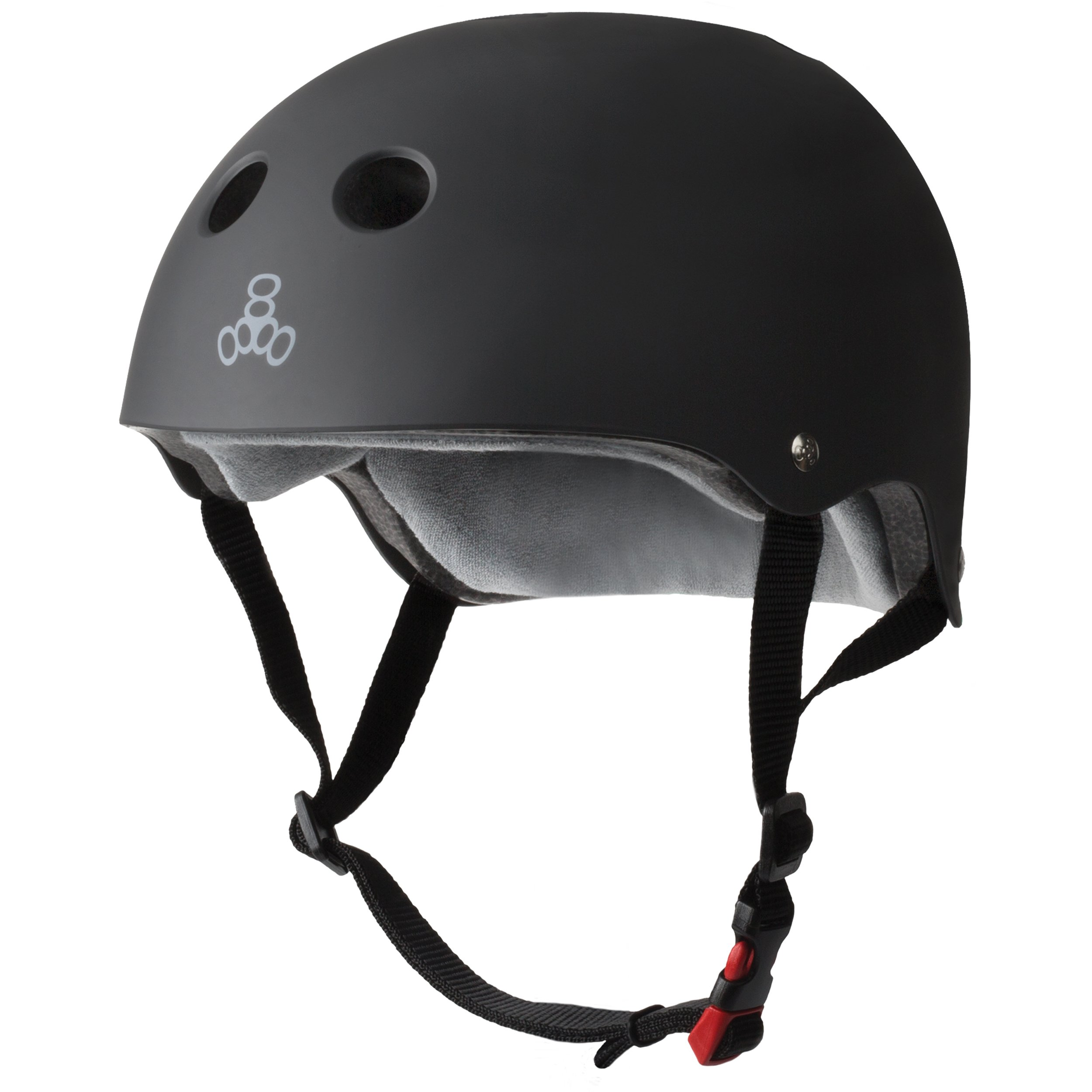 Triple 8 THE Certified Sweatsaver Helmet for Skateboarding, BMX, Roller Skating and Action Sports, Black Rubber, L/XL
