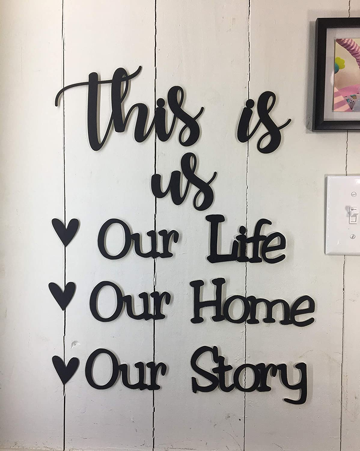 This is us Our Life Our Story -This is NOT Vinyl Decal or Peel Stick - Easily Tak-it-Up with Plasti-Tak provided Removable Paintable Art Wall Décor Gift Quotes Sayings for Family Home College Dorm
