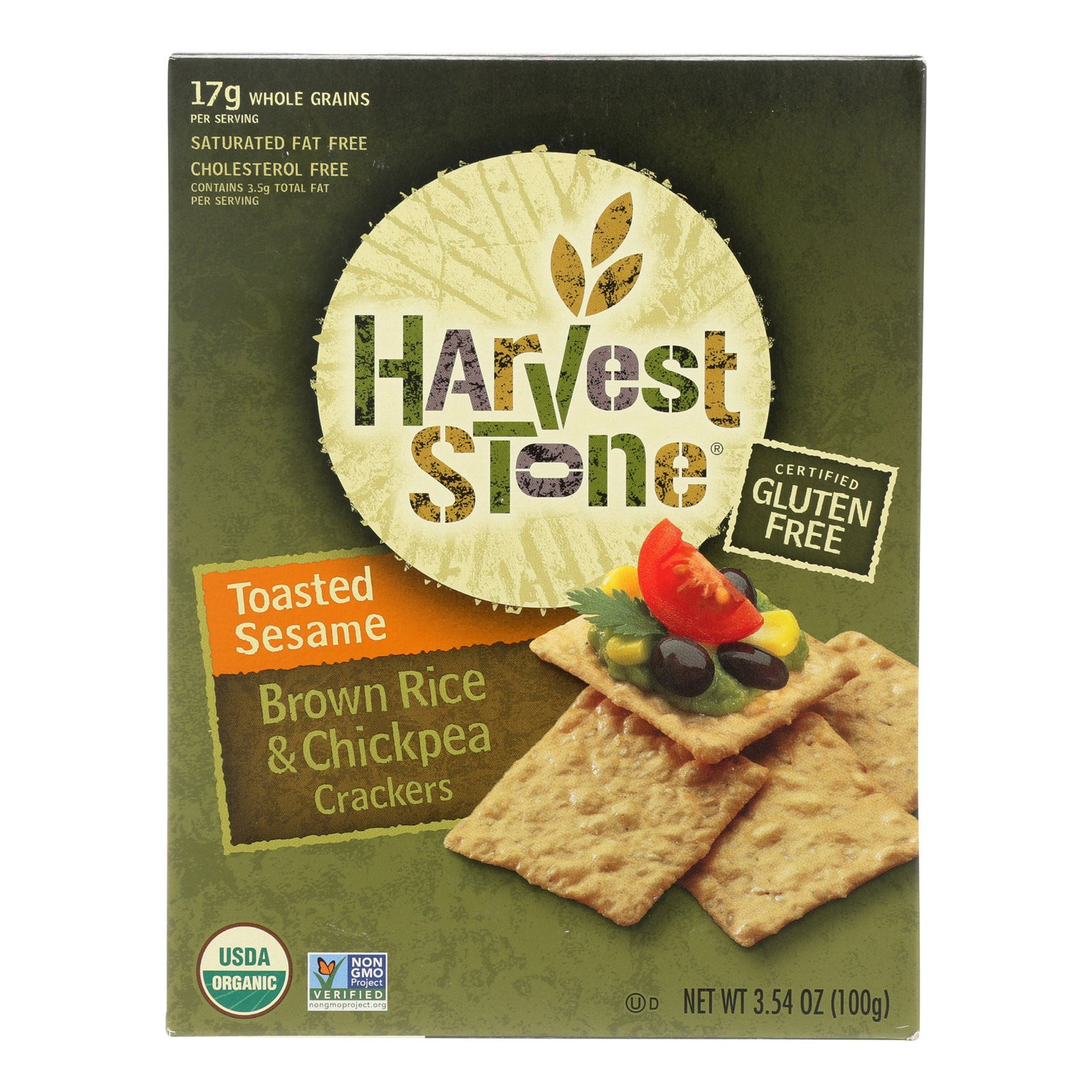 Harvest Stone Harvest Stone Organic Crackers - Rice and Chickpea - Case of 6-3.54 oz.