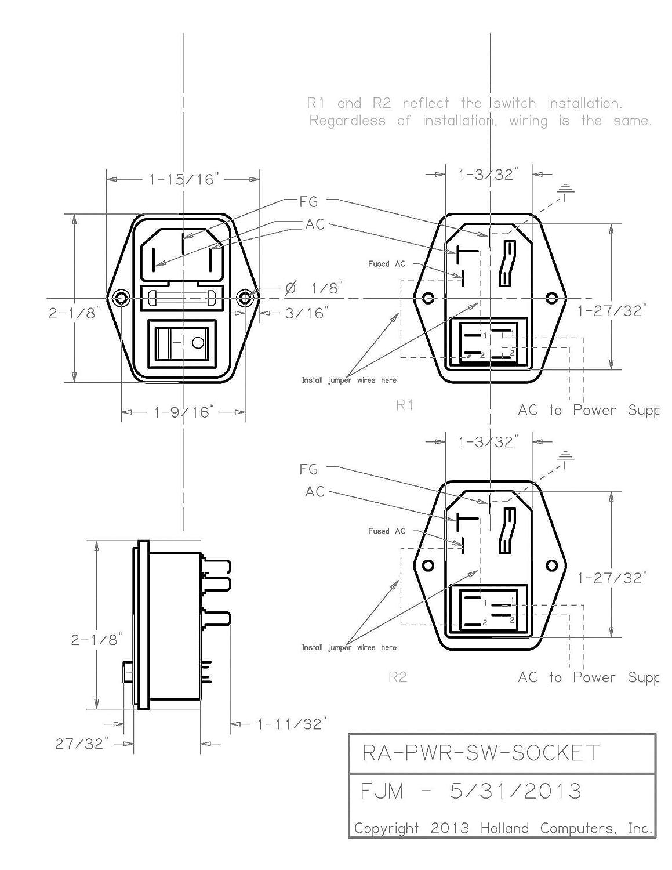 RetroArcade.us ra-pwr-sw-Socket Arcade Cabinet Switched Power Socket on