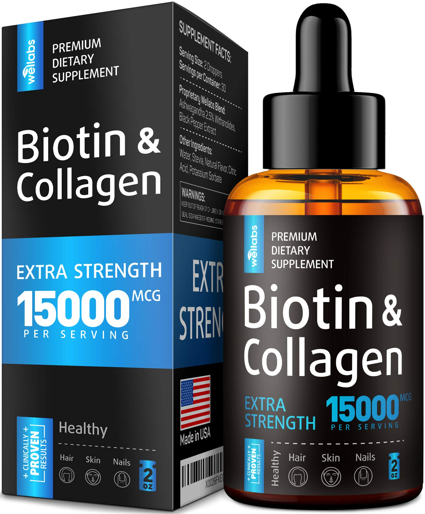 Premium Biotin & Collagen Hair Growth Drops - Potent US Made Hair Growth Product - Healthy Skin & Nails - Liquid Biotin & Collagen Supplement for Best Absorption - Perfect Hair Growth for Men & Women by Wellabs
