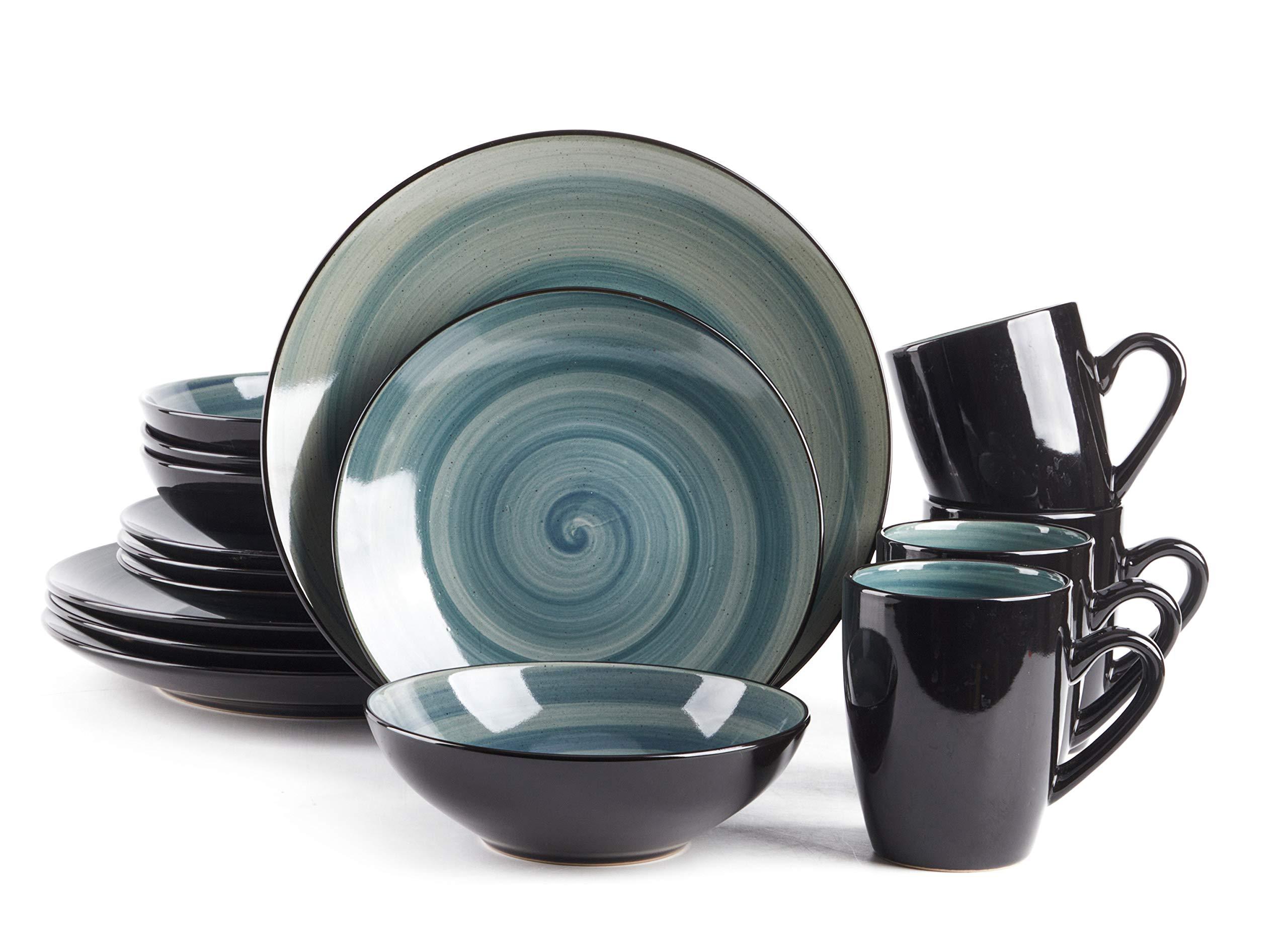 HomeVss, Stoneware Sonoma 16pc Dinnerware Set, Black + Speckled Spin Wash Blue