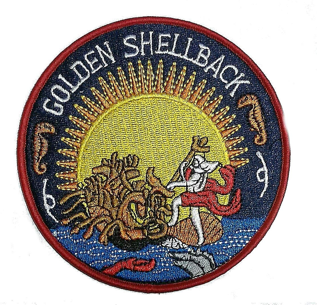 Golden Shellback Crossing of the Equator Embroidered Cloth Iron On Patch