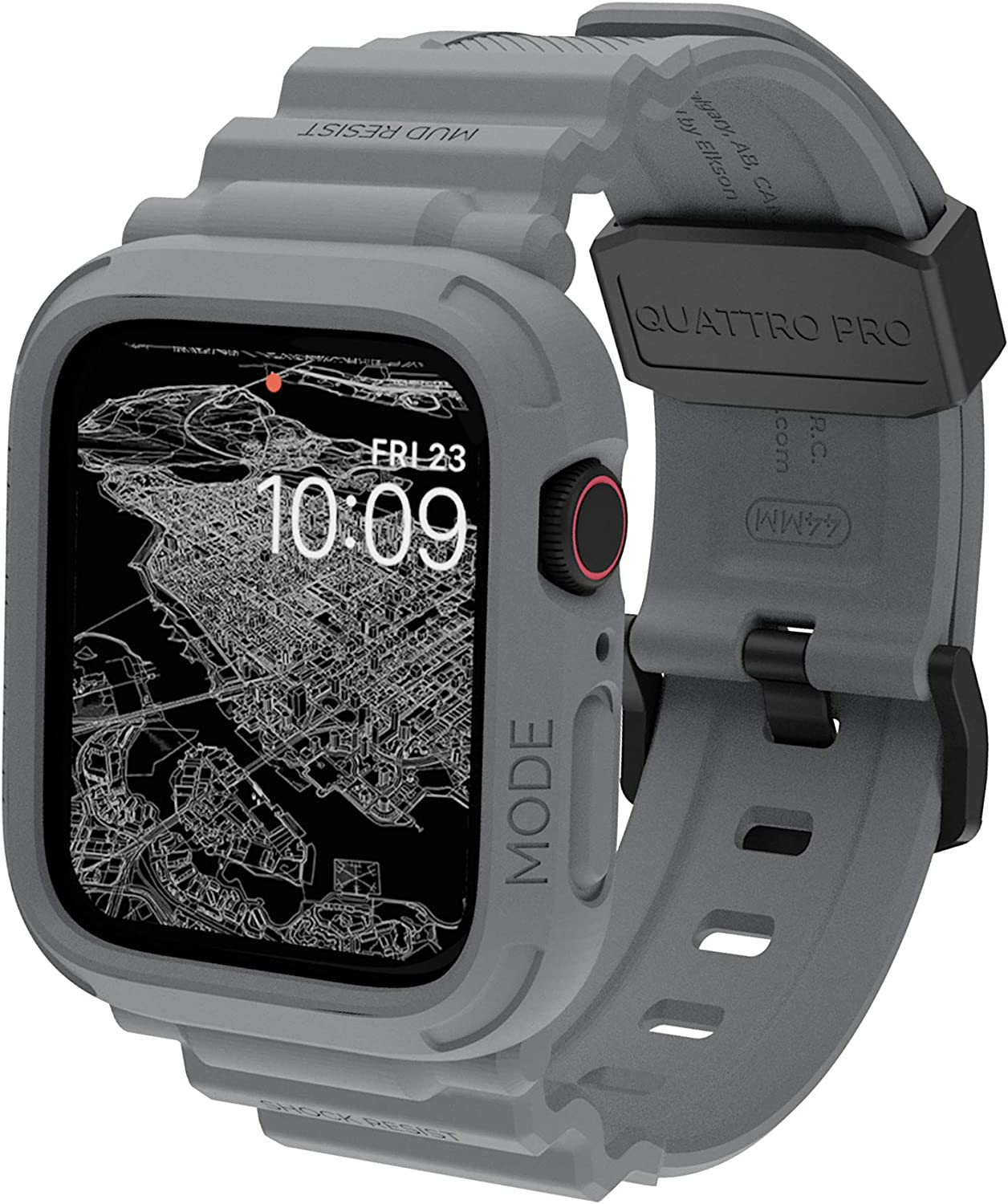 elkson Compatible with Apple Watch Series 6 SE 5 4 Bumper case Band 44mm iwatch Quattro Pro Series Fall Protection Durable Military Grade Protective TPU Mud Shock Proof Resist Men 44 mm Shark Grey