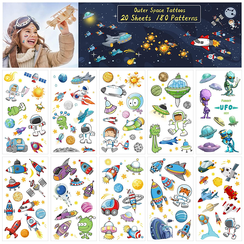 ZERHOK Tatuajes Temporales Infantiles 20 hojas Tatuaje del Espacio ...