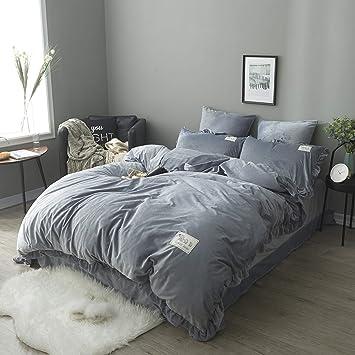 Luoluo Set Bettlaken Samt Bettwäsche Sets Winter Doppelbett