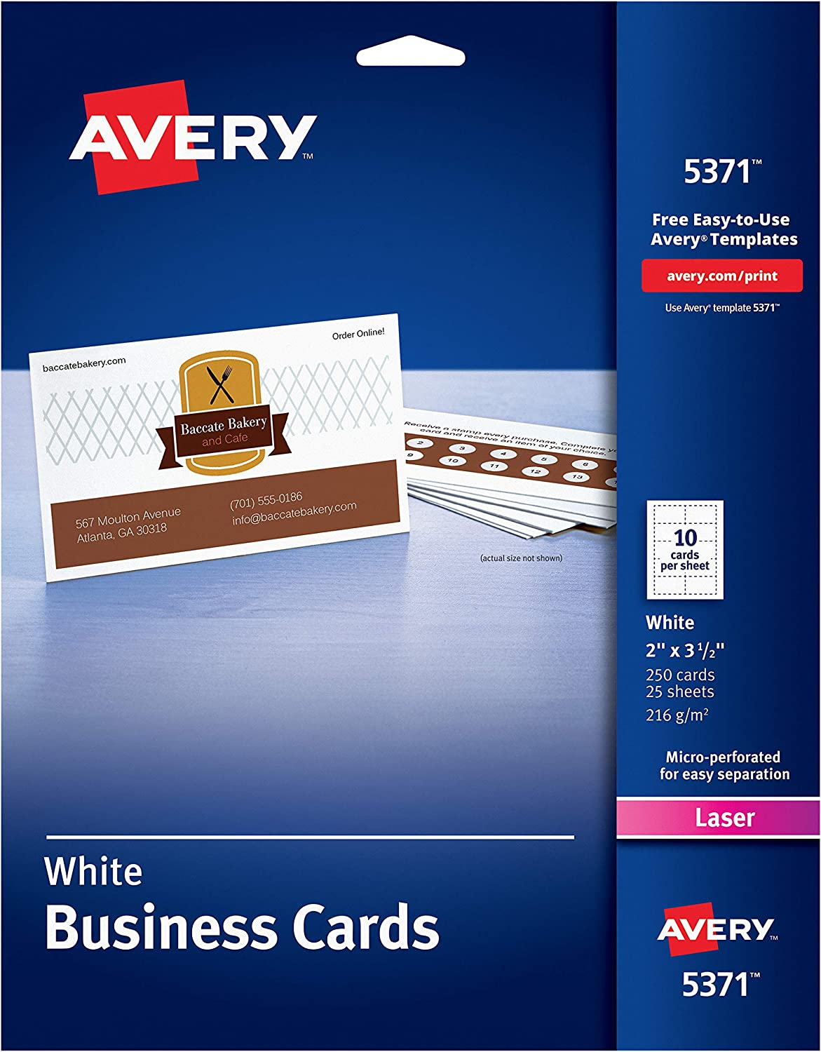"""AVERY 2"""" x 3.5"""" Business Cards, Sure Feed Technology, for Laser Printers, 250 Cards (5371), White (05371) : Business Card Stock : Office Products"""