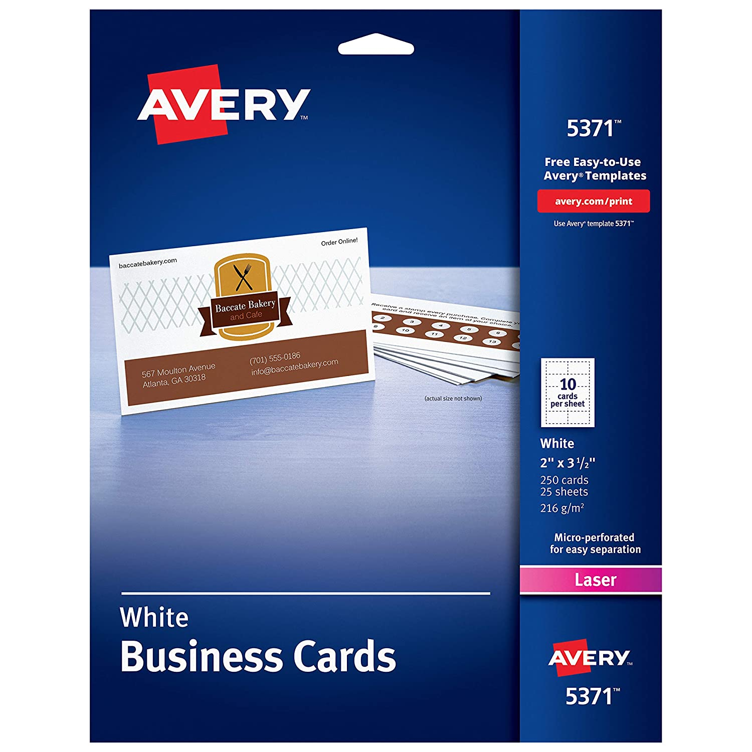 B00005QT7U Avery Printable Business Cards, Laser Printers, 250 Cards, 2 x 3.5 (5371) 81MhWOIZTLL