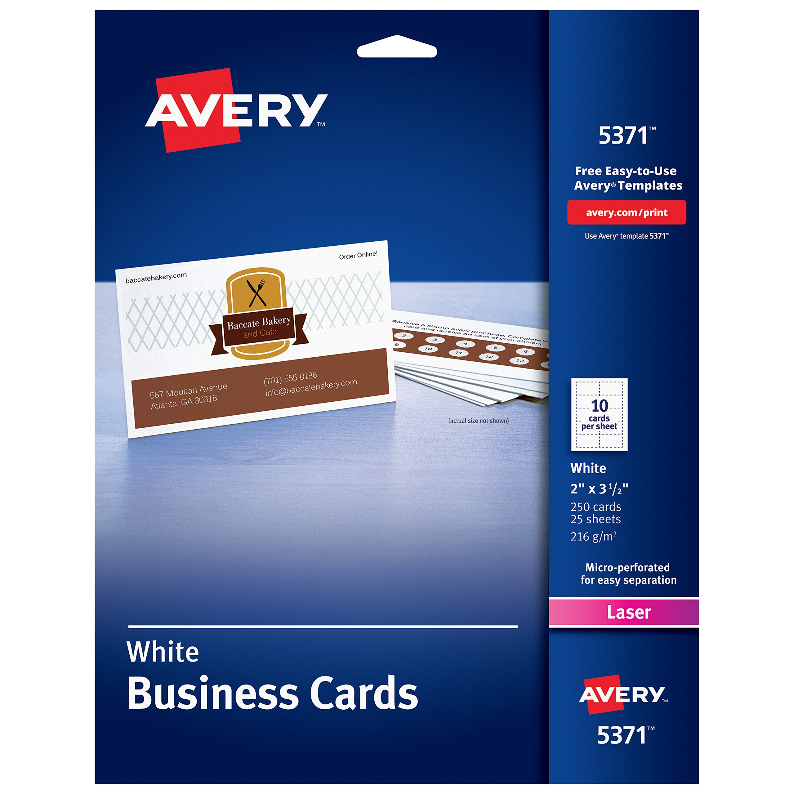 Avery Uncoated Business Cards for Laser Printers, 250 Cards per Pack, Case Pack of 5 (5371) by Avery